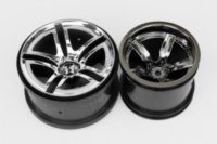 Traxxas 5572 Twin Spoke 2.8 rims next to Arrma AR510032 Vortex Black Chrome 2.2 inch.