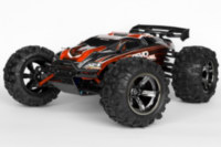 Cool looking black chrome Arrma Vortex rims and Canyon tires on MERV. T-bone without front bumper.