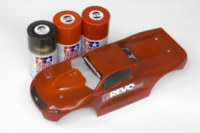 Proline Slipstream 1/16 body painted by Tamiya Red, Bright Red and Smoke sprays.